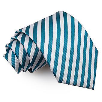 Weiße & Teal dünnen Streifen klassische Krawatte
