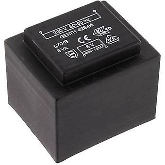 PCB mount transformer 1 x 230 V 2 x 9 V AC 8 VA 444 mA PTF421802 Gerth