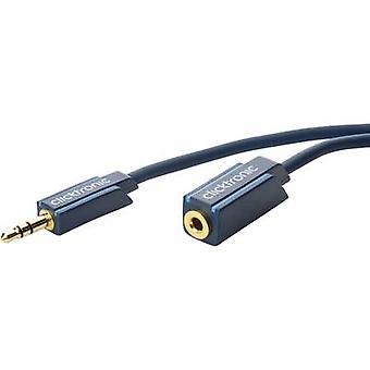 Clicktronic Jack Audio/Phono-Kabel [1 x Klinkenstecker 3,5 mm - 1 x Buchse 3,5 mm] 5 m Blau vergoldete Anschlüsse