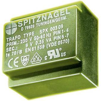 PCB mount transformer 1 x 230 V 2 x 12 V AC 2.2 VA 92 mA SPK 0221212 Spitznagel