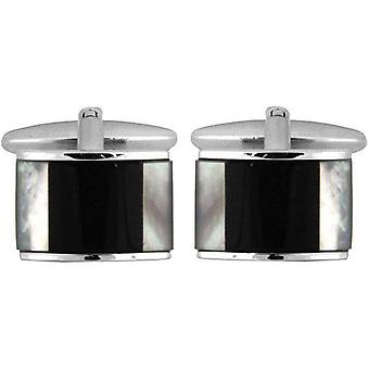 David Van Hagen Rhodium Plated Mother of Pearl and Onyx Curved Cufflinks - Black/White/Silver