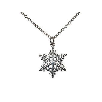 Gemshine - damer - kjede - anheng - snowflake - 925 sølv - 2 cm