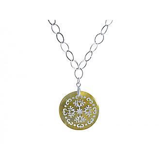 Gemshine - Damen - Halskette - Anhänger - Medaillon  - 925 Silber - Perlmutt - Creme - 3 cm