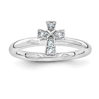 2.25mm Sterling Silver Rhodium-plated Stackable Expressions Rhodium Aquamarine Cross Ring - Ring Size: 5 to 10