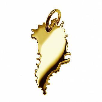 Przyczepa mapę Wisiorki złoto żółto-złota w formie Grenlandii
