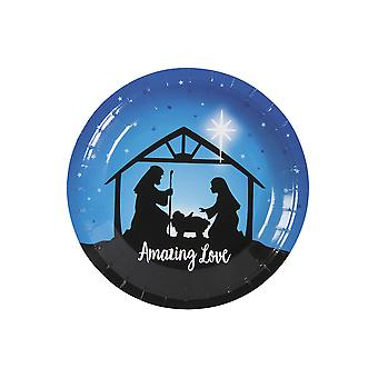 8 Small Nativity Stable Silhouette Paper Christmas Party Plates