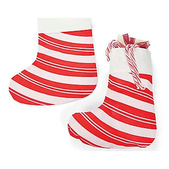 SALE - 12 Giant Budget Christmas Candy Cane Striped Stockings