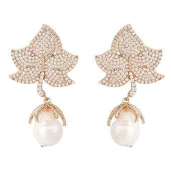 Baroque Large Natural Pearl Leaf Earrings CZ White Pink Rose Gold Drop Statement