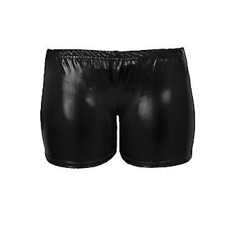 Mädchen Metallic Wet Look Turnen Tanz Stretch-Party für Kinder Hot Pants Shorts