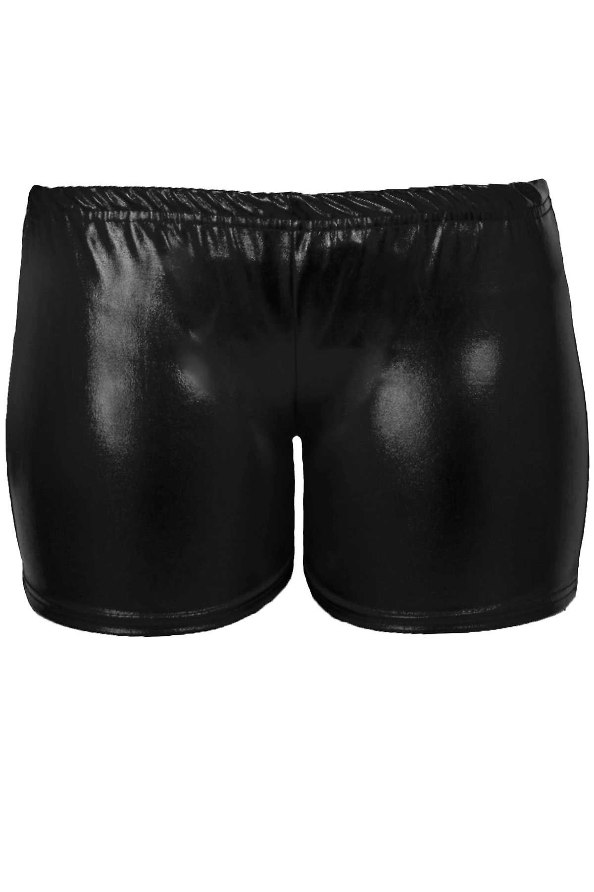 Girls Metallic Wet Look Gymnastics Dance Stretch Party Children's Hot Pants Shorts
