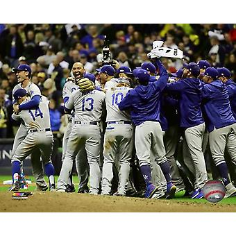 The Los Angeles Dodgers celebrate winning Game 7 of the 2018 National League Championship Series Photo Print