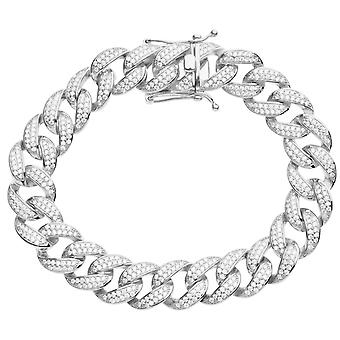Premium Bling 925 sterling silver bracelet - MIAMI CURB 14mm