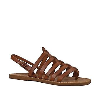 Leather thong sandals for women in cuir color leather
