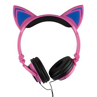 LED kattöron headphones-Pink and Black