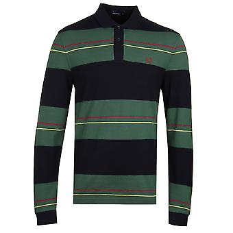 Fred Perry Panelled Stripe Navy Polo Shirt