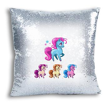 i-Tronixs - Unicorn Printed Design Silver Sequin Cushion / Pillow Cover with Inserted Pillow for Home Decor - 11