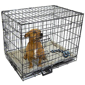 Charles Bentley Metal Pet Folding Cage with Removable Plastic Tray - Lightweight - Powder Coated Steel - in Black