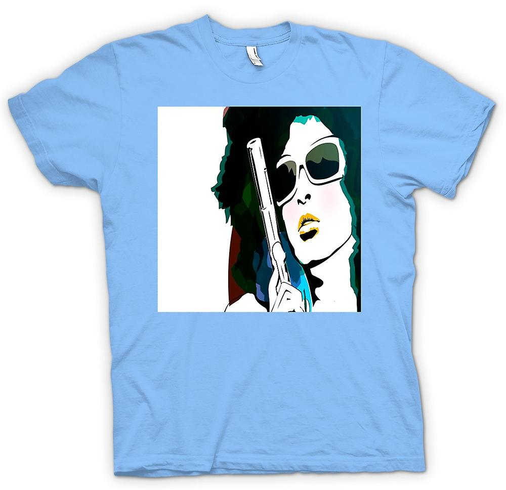 Herr T-shirt - Pop Art Girl med Pistol - Cool konst