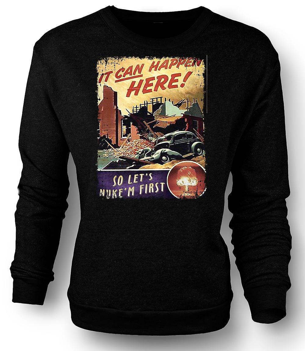 Mens Sweatshirt Cold War Vintage Poster Nuke Em