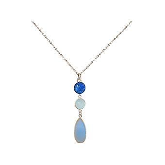 GEMSHINE necklace chalcedony, blue lapis lazuli 925 silver, gold plated, rose