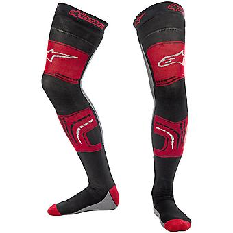 Alpinestars Red-Black-Grey 2015 Knee Brace MX Long Socks