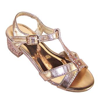 Girls rose gold sparkly strappy low heeled sandals