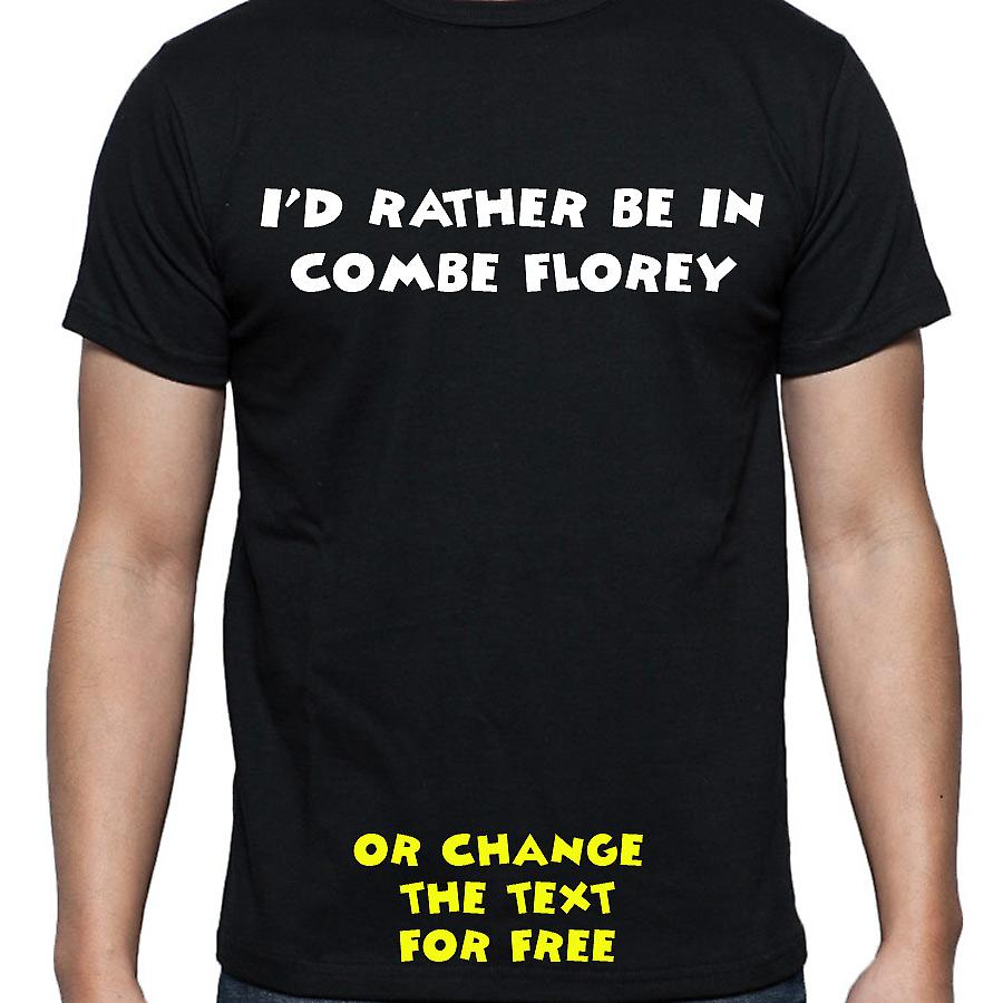 I'd Rather Be In Combe florey Black Hand Printed T shirt
