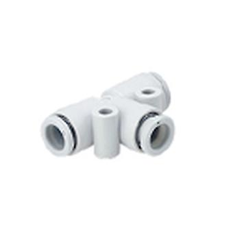 SMC Kq2 Pneumatic Tee Tube-To-Tube Adapter, Push In 10 Mm