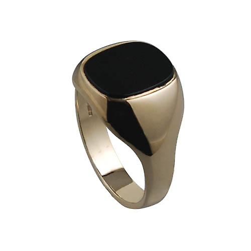 9ct Gold 14x12mm gents Onyx set oval Signet Ring Size W
