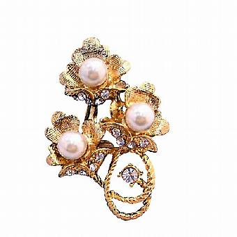 Gold Flower Bouquet Decorated Pearls & Cubic Zircon Brooch