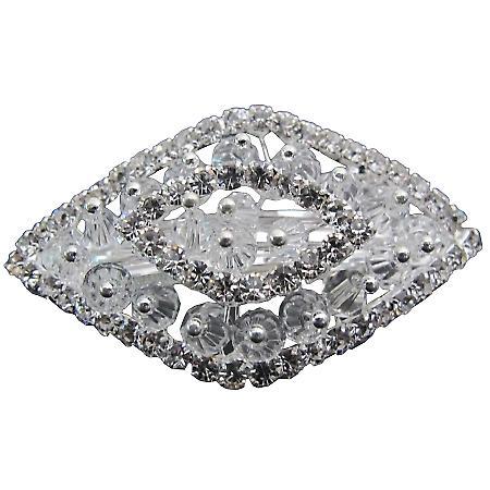 Vintage Style Bridal Crystals Clear Rhinestone Diamond Shape Barrette
