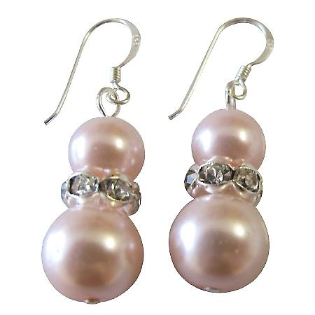 Sterling Silver Earrings Rose Pearls Diamante Spacer Jewelry