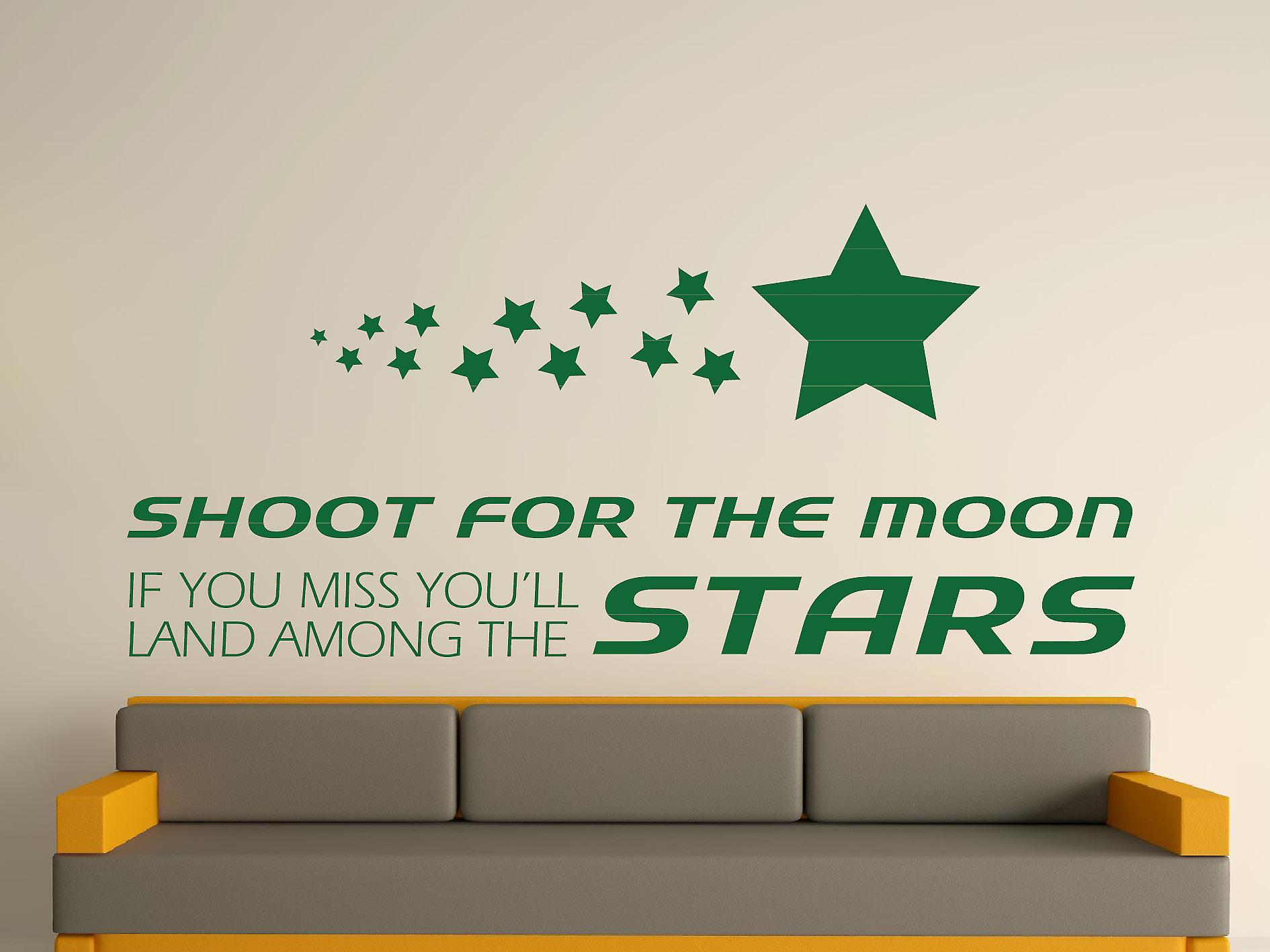 Shoot For The Moon Wall Art Sticker - Racing Green