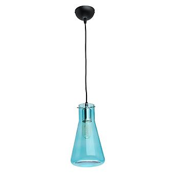 Glasberg - Pendant Single Adjustable In Black With Blue Glass Shade 720010601