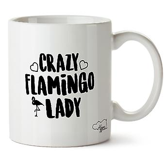 Hippowarehouse Crazy Flamingo Lady Printed Mug Cup Ceramic 10oz