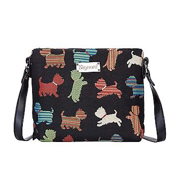 Playful puppy shoulder cross body bag by signare tapestry / xb02-puppy