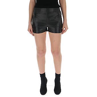 Laneus Black Leather Shorts