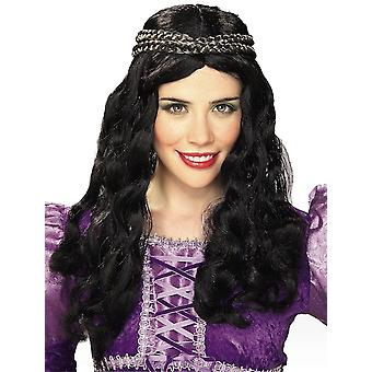 Renaissance Black Princess Medieval Maiden Fairy Women Costume Wig