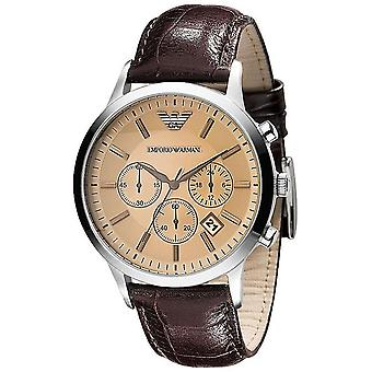Emporio Armani Ar2433 klassisk Chrono læder rav dial Herre Watch