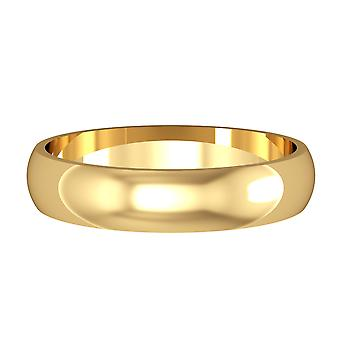 Jewelco London 9ct Yellow Gold - 4mm Essential D-Shaped Band Commitment / Wedding Ring