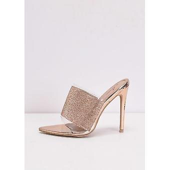 Diamante Perspex Pointed Stiletto Heel Mules Rose Gold