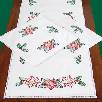 Stamped Dresser Scarf & Doilies Lace Edge Poinsettias 449 642