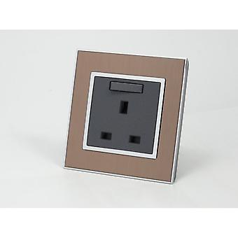 I LumoS AS Luxury Gold Satin Metal Single Switched Wall Plug 13A UK Sockets