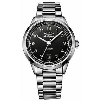 Rotary Mens Tradition Automatic Stainless Steel Bracelet Black Dial GB90184/19 Watch