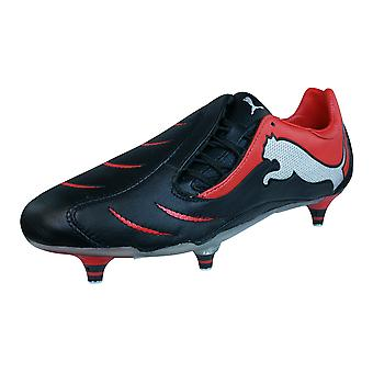 Puma PowerCat 2.10 SG Mens Leather Football Boots / Cleats - Black Red