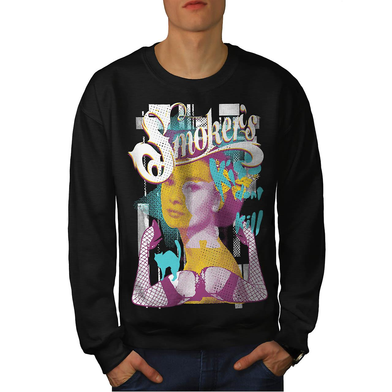 Smoker Kiss Dont Kill Audrey Leg Men Black Sweatshirt | Wellcoda
