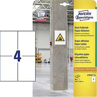Avery-Zweckform L7876-20 Labels (A4) 105 x 148 mm Paper White 80 pc(s) Permanent, Strongly adhesive Adhesive labels (ext