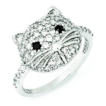 Sterling Silver White and Black CZ Cat Ring - Ring Size: 6 to 8