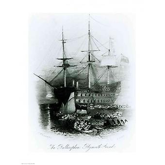 The Bellerophon at Plymouth Sound in 1815 Poster Print by JMW Turner