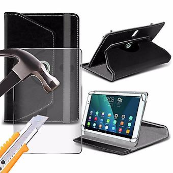iTronixs - Ainol Novo 7 Aurora (7 inch) Tablet Case PREMIUM PU 360 Rotating Leather Wallet Folio Faux 4 Springs Stand with Tempered Glass LCD Screen Protector Guard - Black